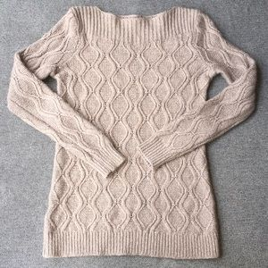 Loft Tan Grey Knit Long Sleeve Sweater Size Small